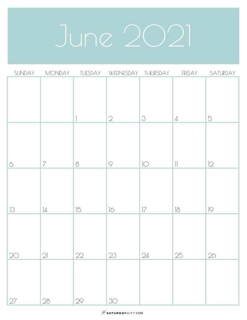Green Monthly Goals June 2021 Calendar Vertical Sunday-start | SaturdayGift