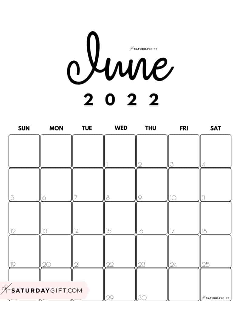 Cute Printable June 2022 Calendar by Month Black and White Vertical Sunday-start   SaturdayGift