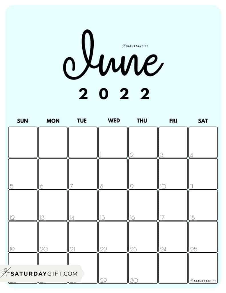 Cute Printable June 2022 Calendar by Month Blue Vertical Sunday-start   SaturdayGift