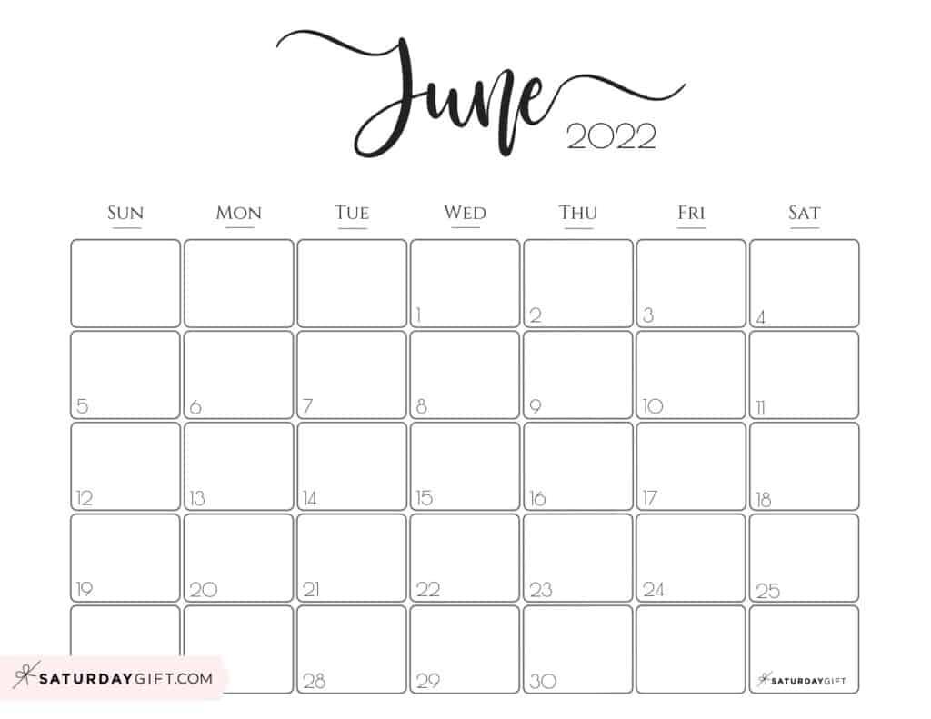 Elegant June 2022 calendar Free Printable Horizontal Landscape Black & White Sunday-Start   SaturdayGift