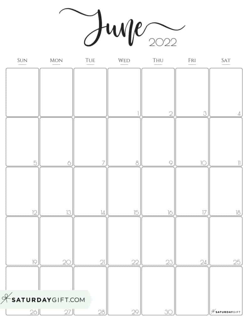 Elegant June 2022 calendar Free Printable Vertical Portrait Black & White Sunday-Start   SaturdayGift