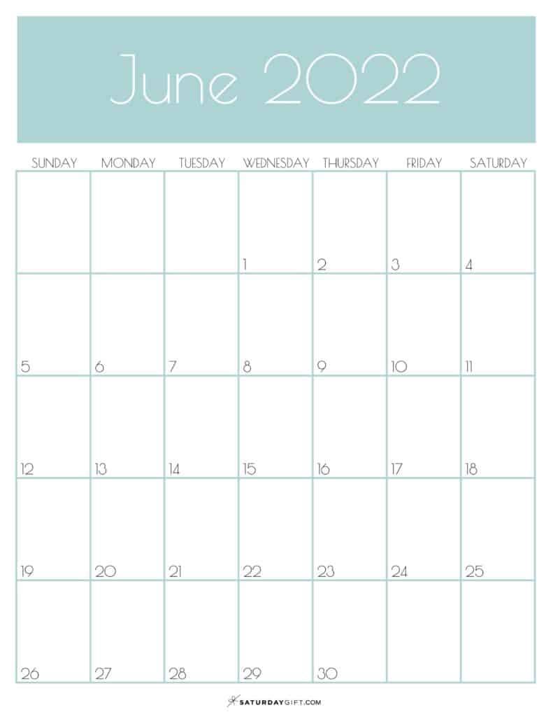 Green Monthly Goals June 2022 Calendar Vertical Sunday-start   SaturdayGift