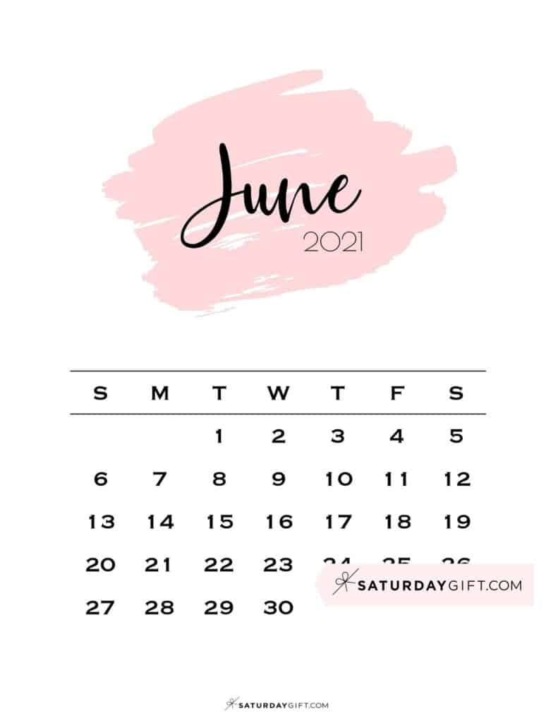 Monthly June 2021 Calendar Minimalistic Pink Brush | SaturdayGift