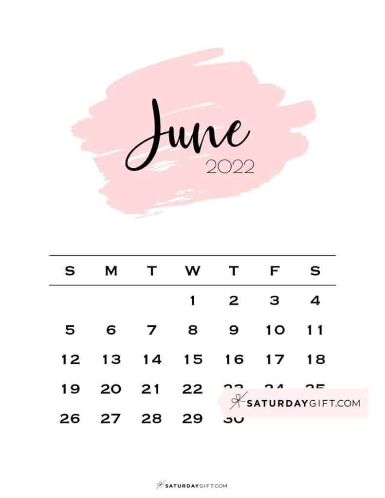 Monthly June 2022 Calendar Minimalistic Pink Brush   SaturdayGift