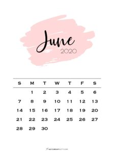 Monthly Calendar Pink Brush June 2020 | SaturdayGift