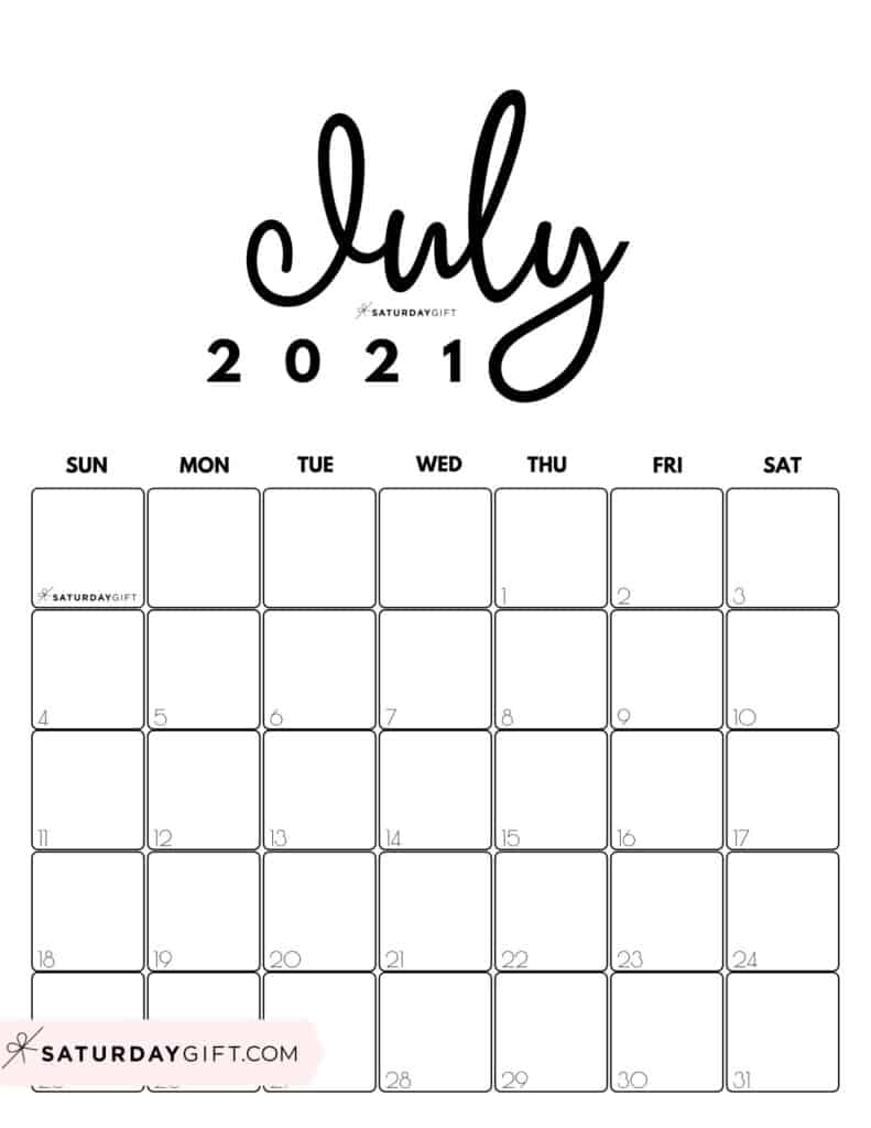 Cute Black & White Printable July 2021 Calendar by Month Vertical Sunday-start by SaturdayGift