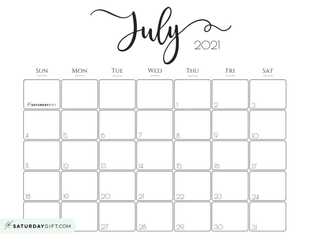Elegant July 2021 calendar Free Printable Horizontal Sunday-Start