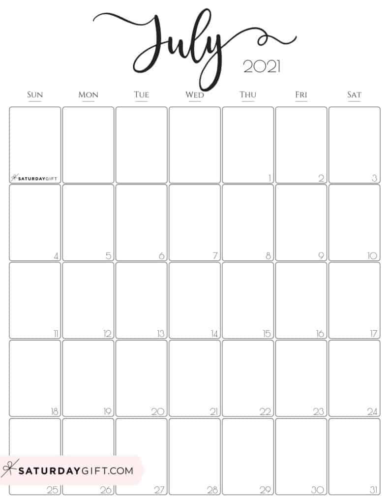 Elegant July 2021 calendar Free Printable Vertical Sunday-Start