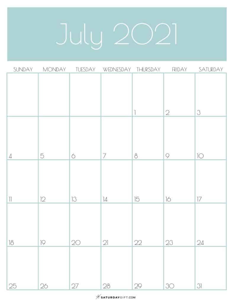 Green Monthly Goals July 2021 Calendar Vertical Sunday-start | SaturdayGift