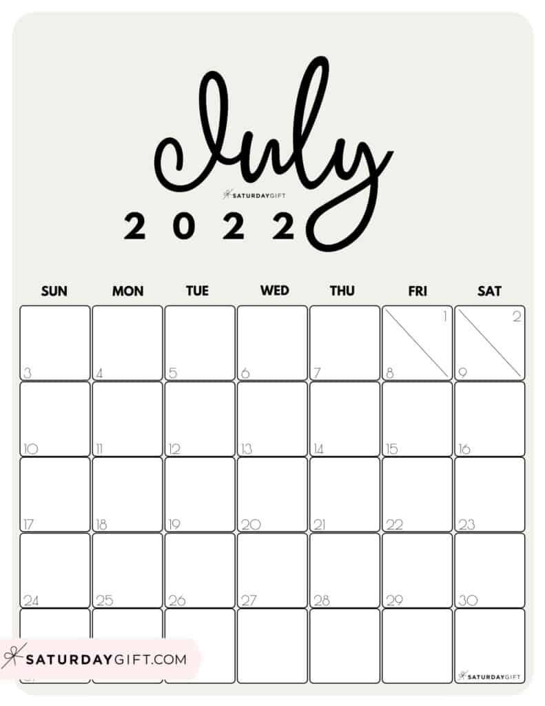 Cute Printable July 2022 Calendar by Month Beige Vertical Sunday-start   SaturdayGift