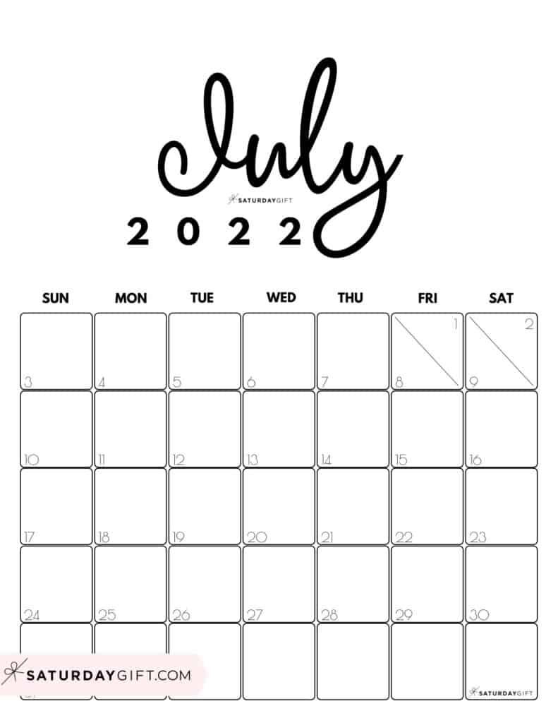 Cute Printable July 2022 Calendar by Month Black & White Vertical Sunday-start   SaturdayGift