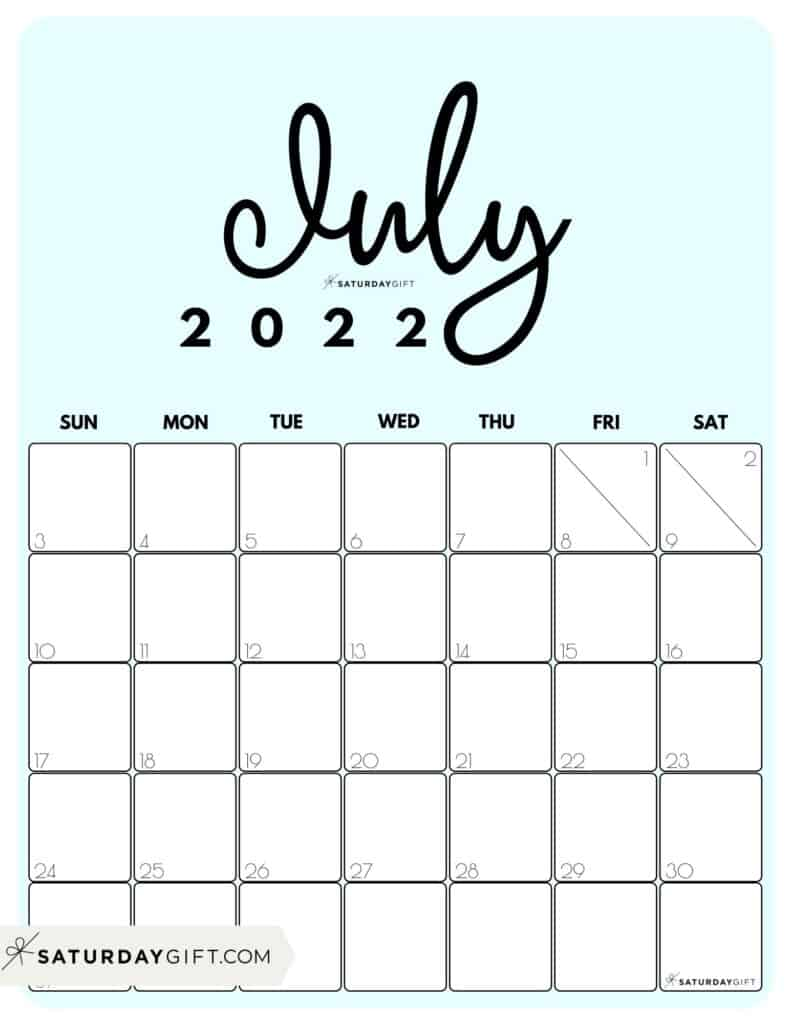 Cute Printable July 2022 Calendar by Month Blue Vertical Sunday-start   SaturdayGift