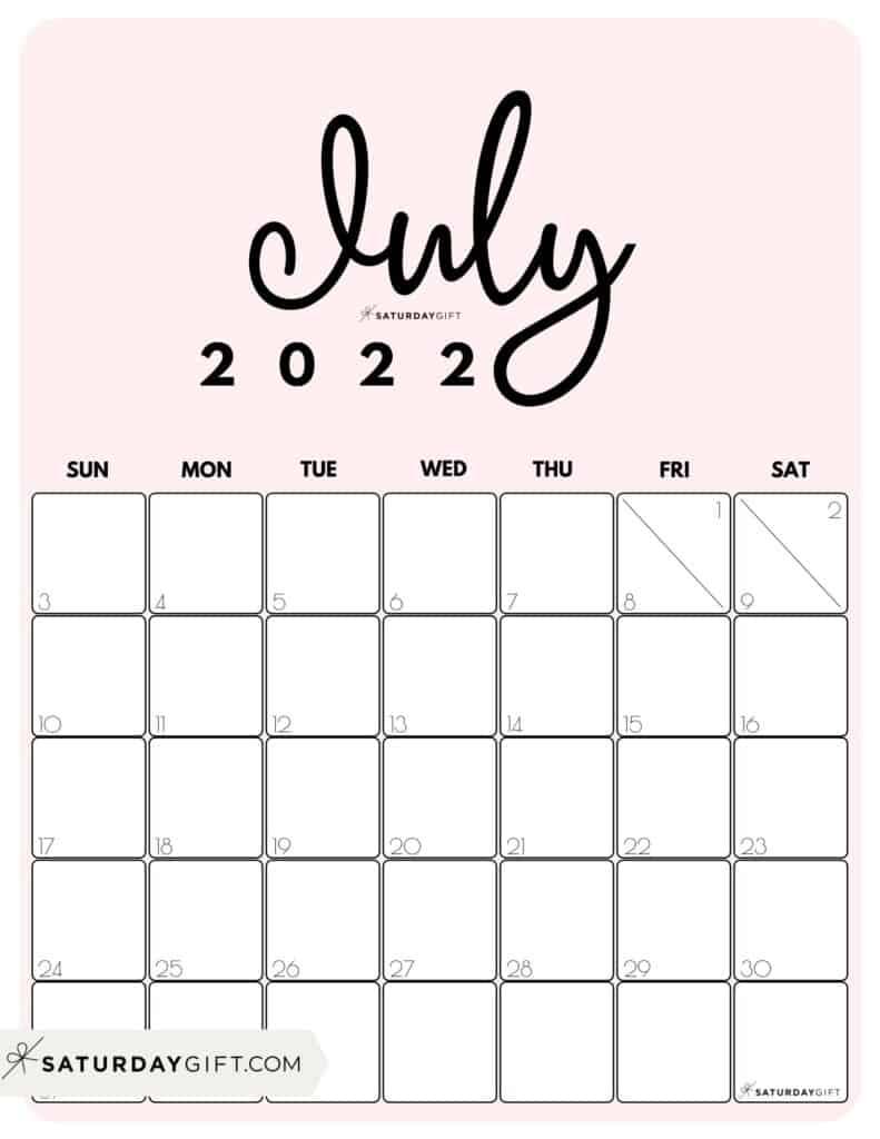 Cute Printable July 2022 Calendar by Month Pink Vertical Sunday-start   SaturdayGift