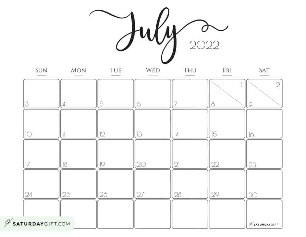 Elegant July 2022 calendar Free Printable Horizontal Landscape Black & White Sunday-Start   SaturdayGift