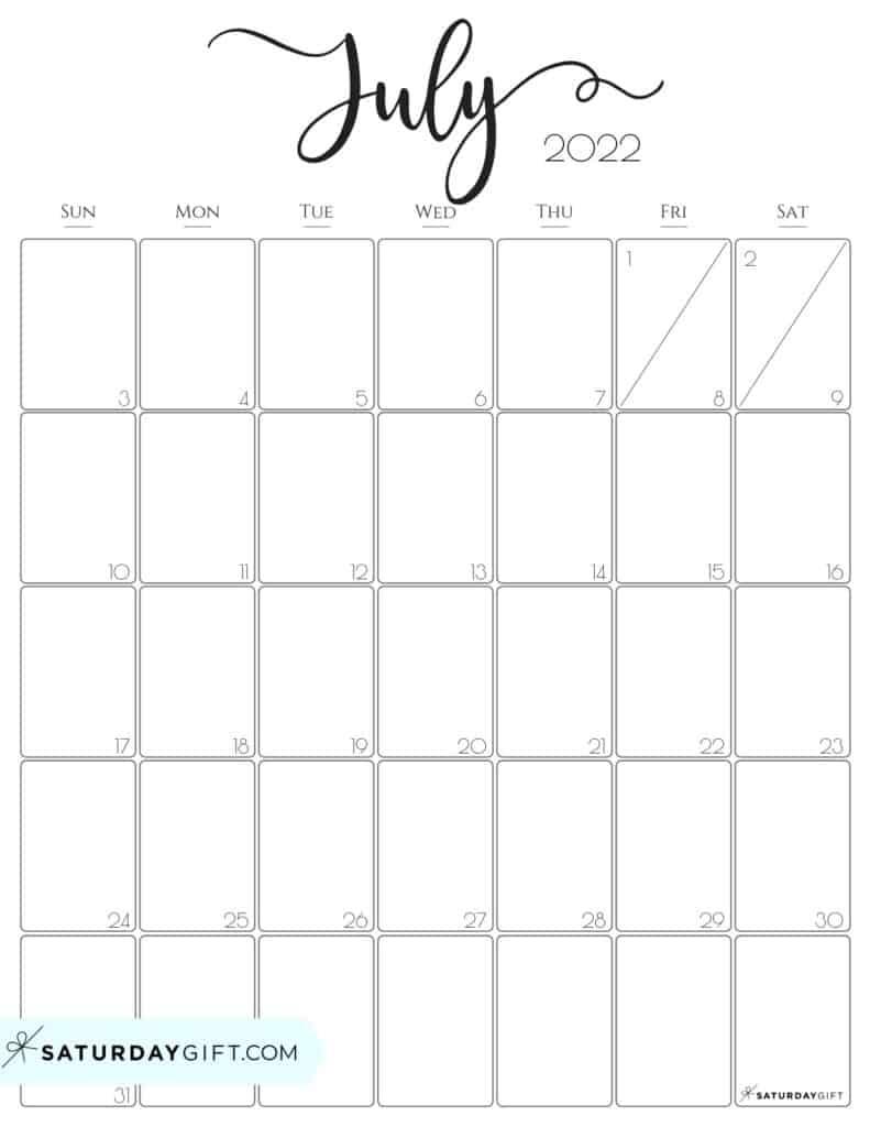 Elegant July 2022 calendar Free Printable Vertical Portrait Black & White Sunday-Start   SaturdayGift