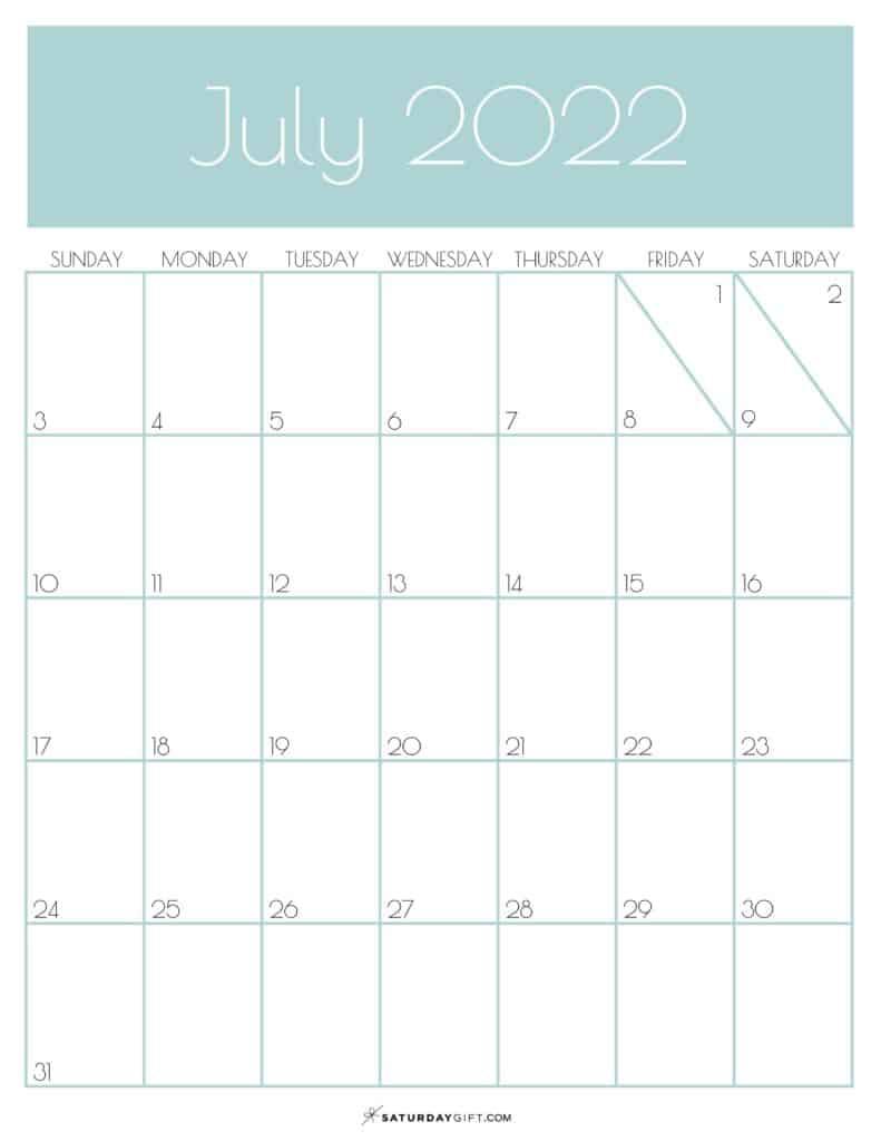 Green Monthly Goals July 2022 Calendar Vertical Sunday-start   SaturdayGift