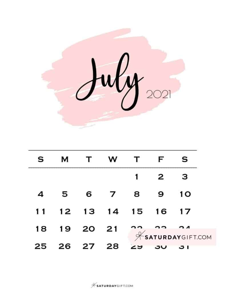 Monthly July 2021 Calendar Minimalistic Pink Brush | SaturdayGift