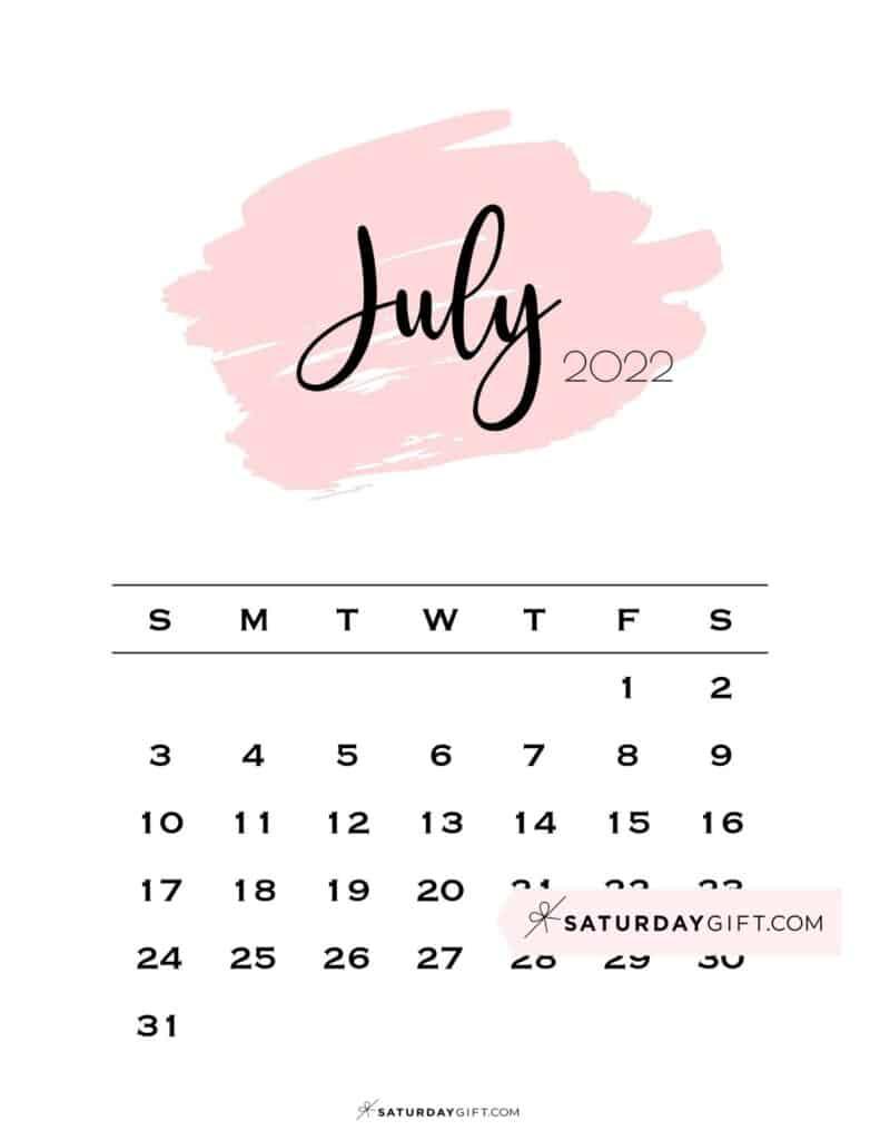 Monthly July 2022 Calendar Minimalistic Pink Brush   SaturdayGift