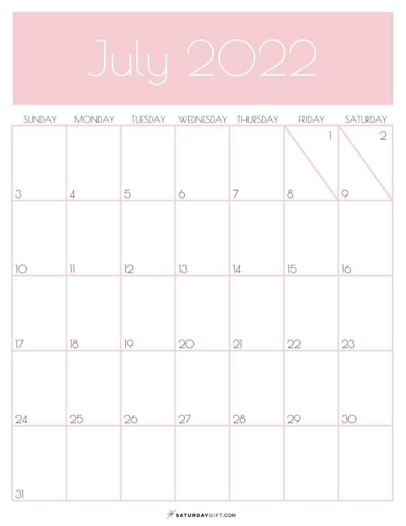 Pink Monthly Goals July 2022 Calendar Vertical Sunday-start   SaturdayGift