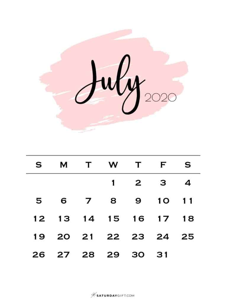 07 Monthly Calendar Pink Brush July 2020 | SaturdayGift