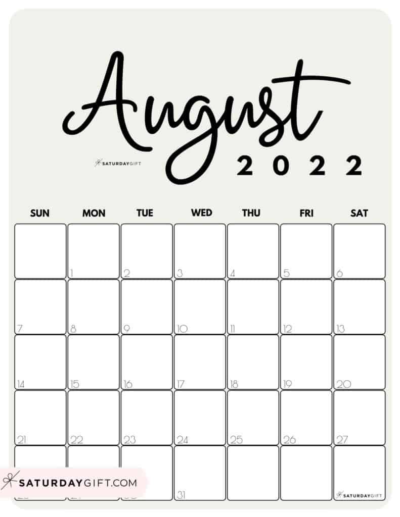 Cute Printable August 2022 Calendar by Month Beige Vertical Sunday-start | SaturdayGift