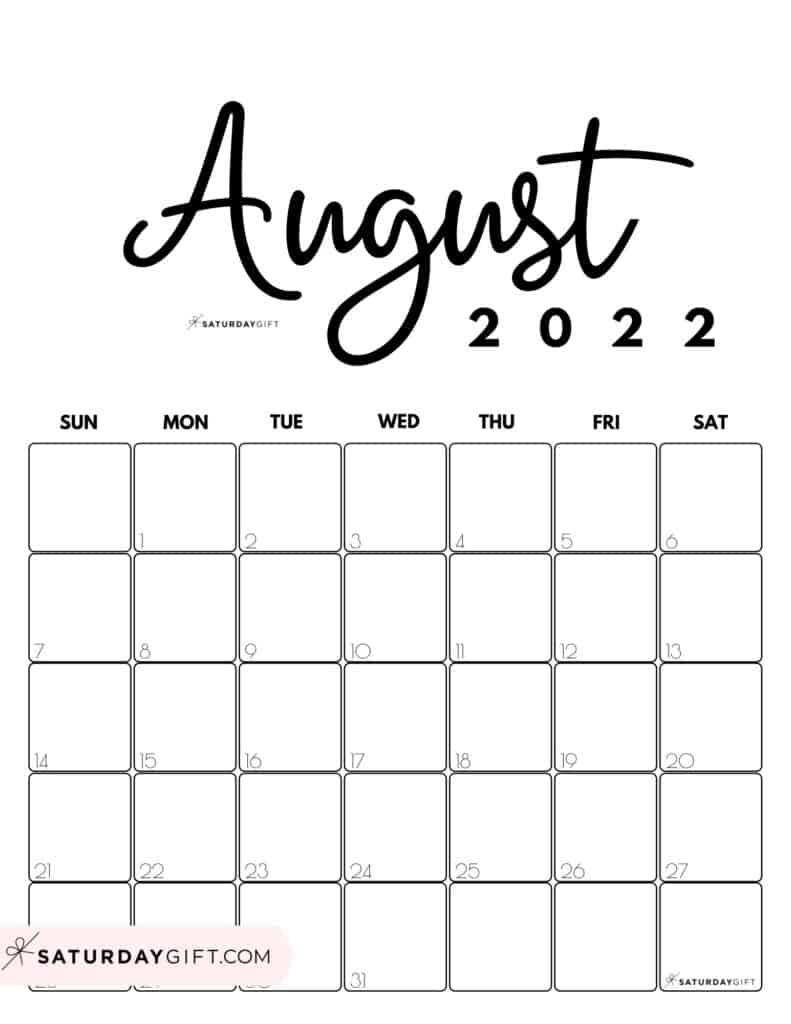 Cute Printable August 2022 Calendar by Month Black & White Vertical Sunday-start | SaturdayGift