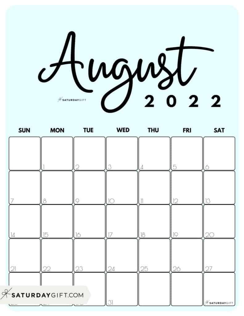Cute Printable August 2022 Calendar by Month Blue Vertical Sunday-start | SaturdayGift