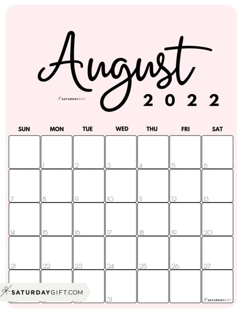 Cute Printable August 2022 Calendar by Month Pink Vertical Sunday-start | SaturdayGift