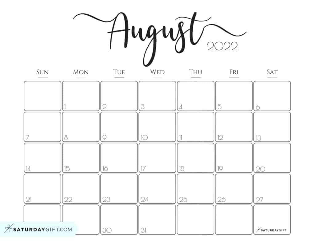 Elegant August 2022 calendar Free Printable Horizontal Landscape Black & White Sunday-Start | SaturdayGift