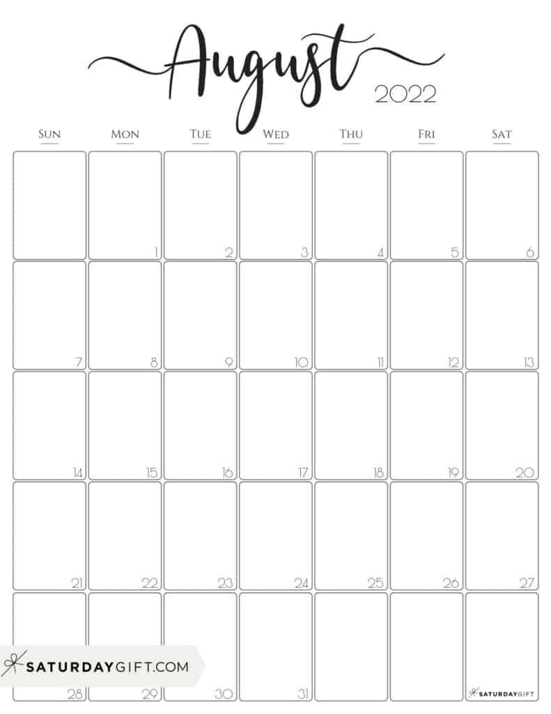 Elegant August 2022 calendar Free Printable Vertical Portrait Black & White Sunday-Start | SaturdayGift