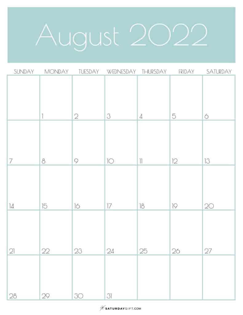 Green Monthly Goals August 2022 Calendar Vertical Sunday-start | SaturdayGift