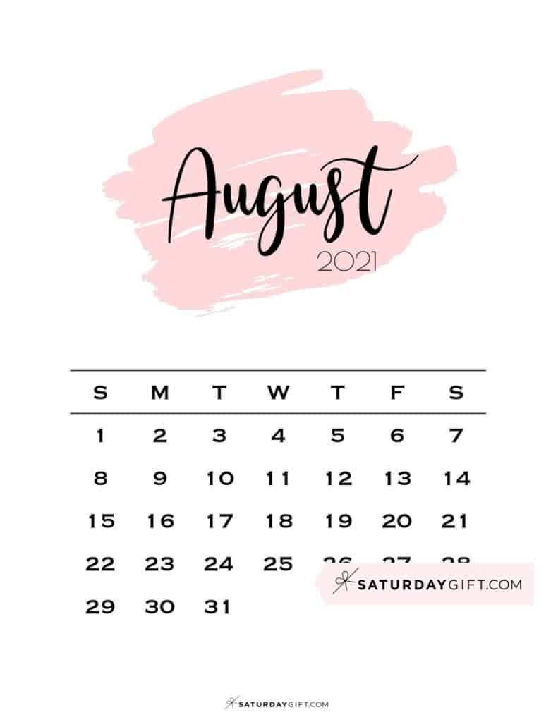 Monthly August 2021 Calendar Minimalistic Pink Brush | SaturdayGift