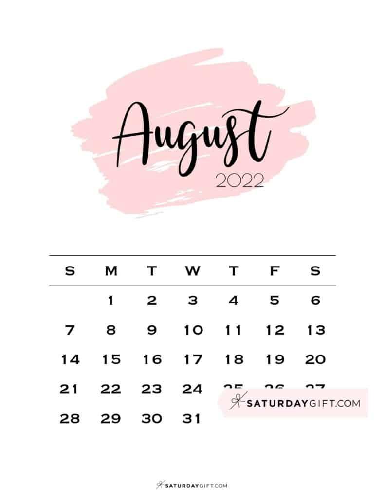 Monthly August 2022 Calendar Minimalistic Pink Brush | SaturdayGift