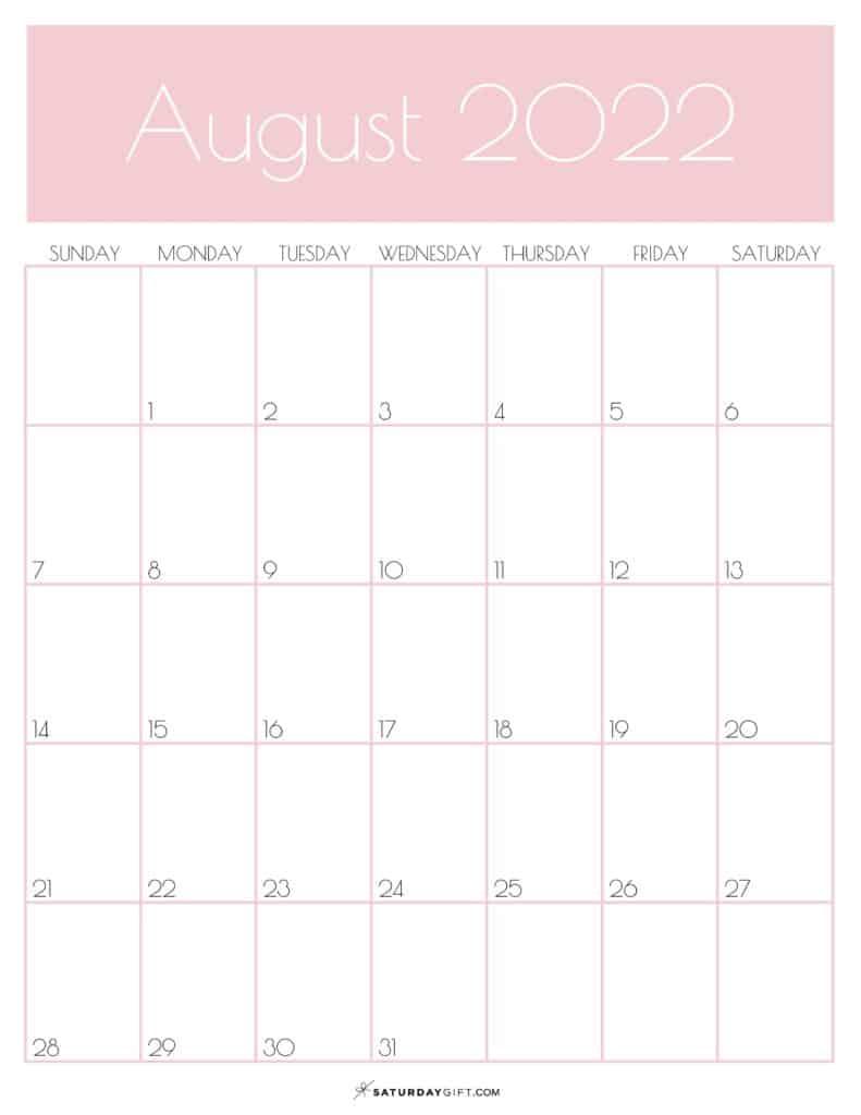 Pink Monthly Goals August 2022 Calendar Vertical Sunday-start | SaturdayGift
