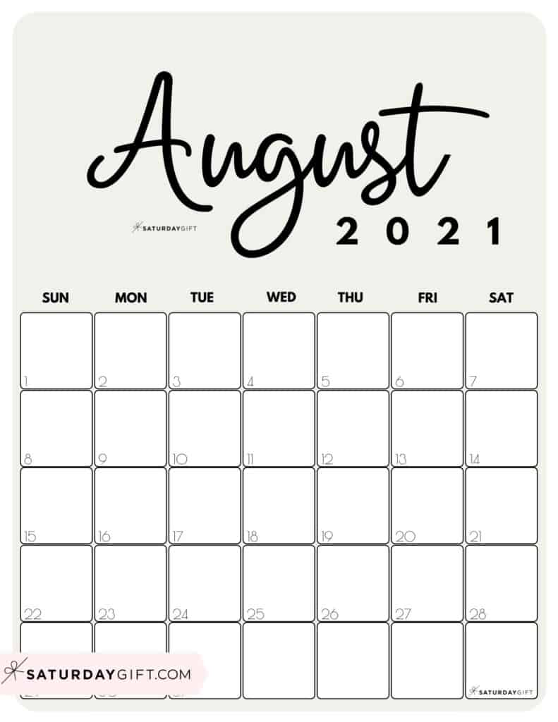Cute beige Printable August 2021 Calendar by Month Vertical Sunday-start by SaturdayGift