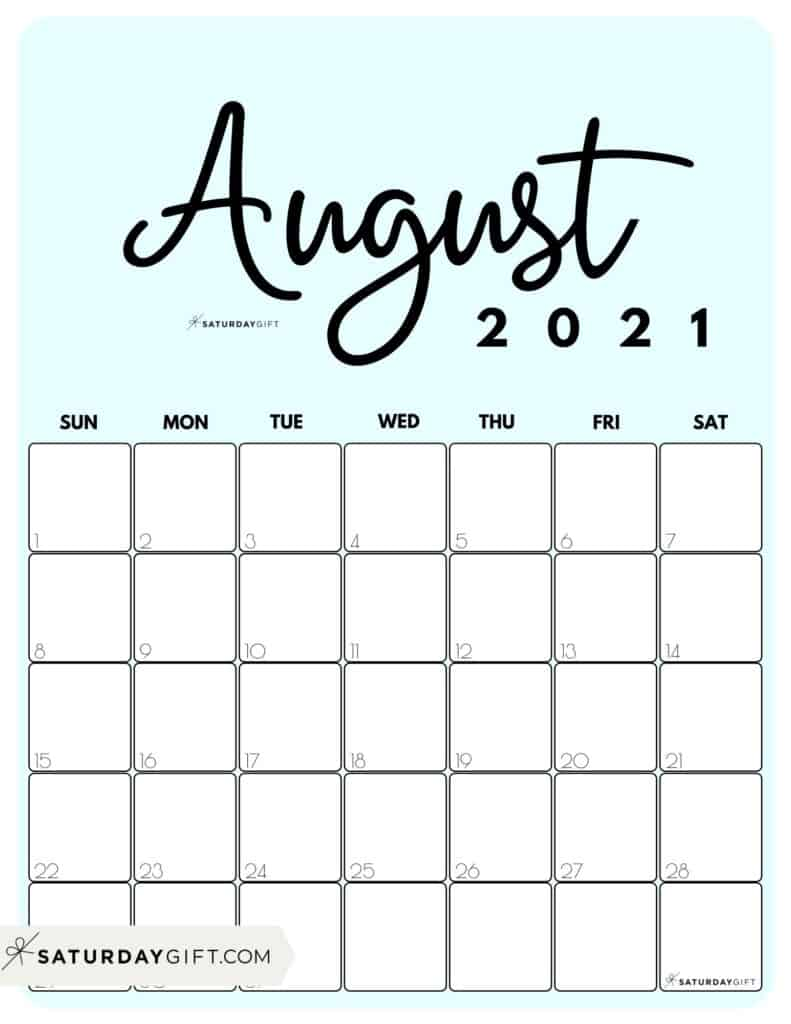 Cute blue Printable August 2021 Calendar by Month Vertical Sunday-start by SaturdayGift