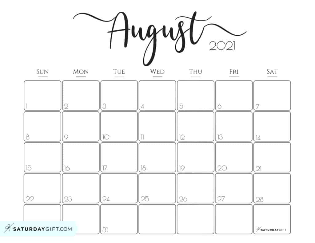 Elegant August 2021 calendar Free Printable Horizontal Sunday-Start