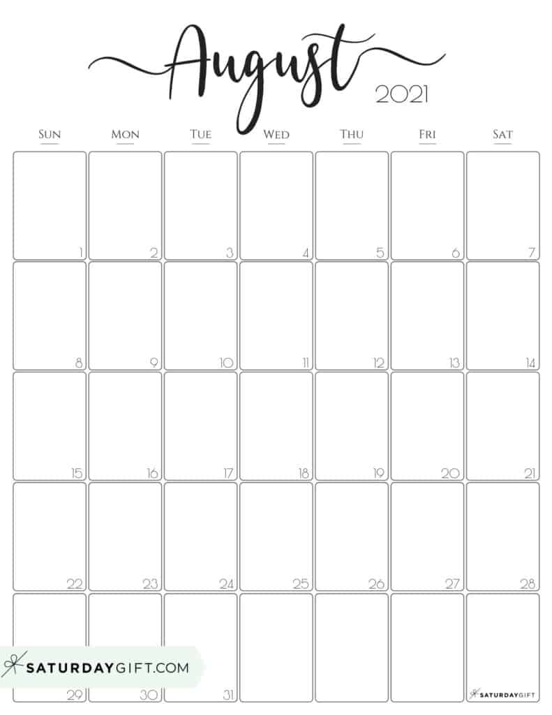 Elegant August 2021 calendar Free Printable Vertical Sunday-Start