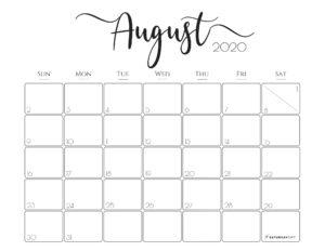 Elegant horizontal 2020 Calendar August - free printables