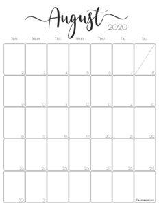 Elegant vertical 2020 Calendar August - free printables
