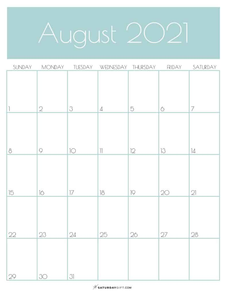 Green Monthly Goals August 2021 Calendar Vertical Sunday-start | SaturdayGift