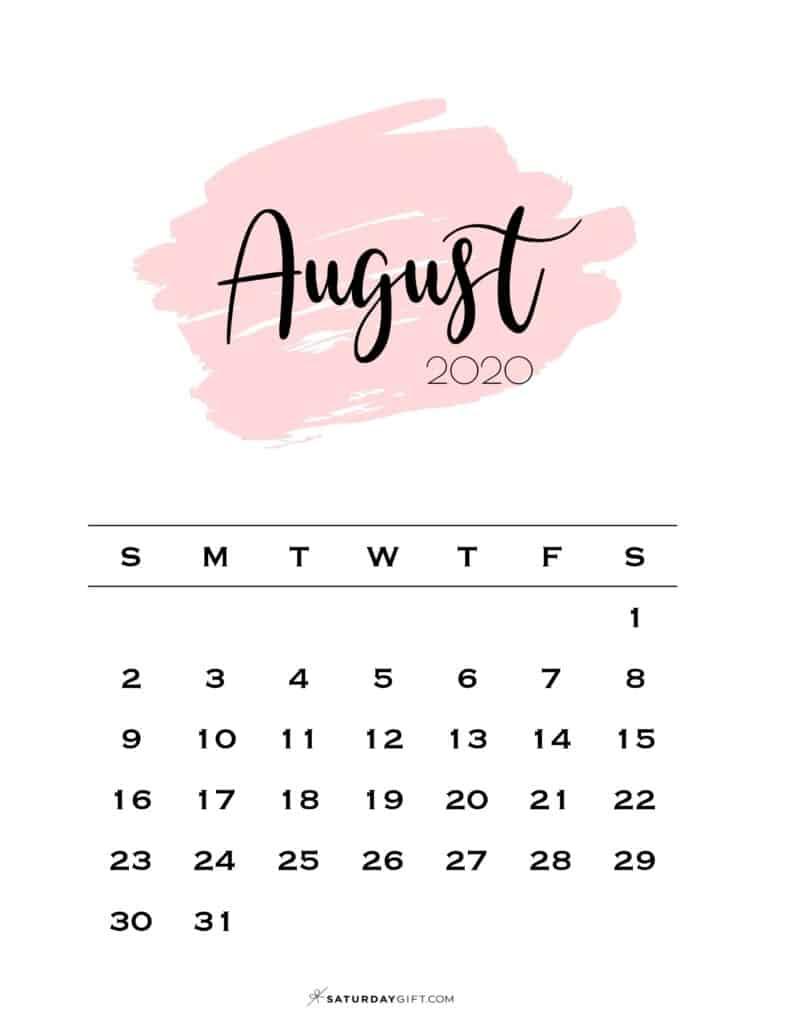 08 Monthly Calendar Pink Brush August 2020 | SaturdayGift
