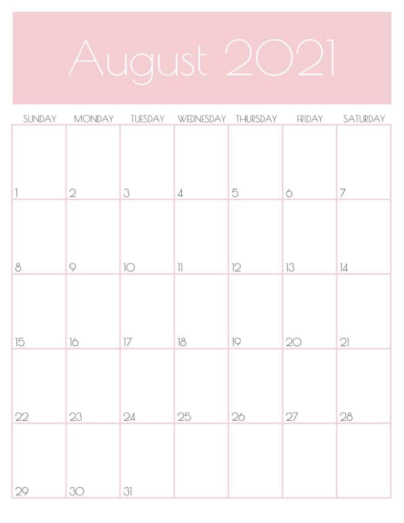 Pink Monthly Goals August 2021 Calendar Vertical Sunday-start | SaturdayGift