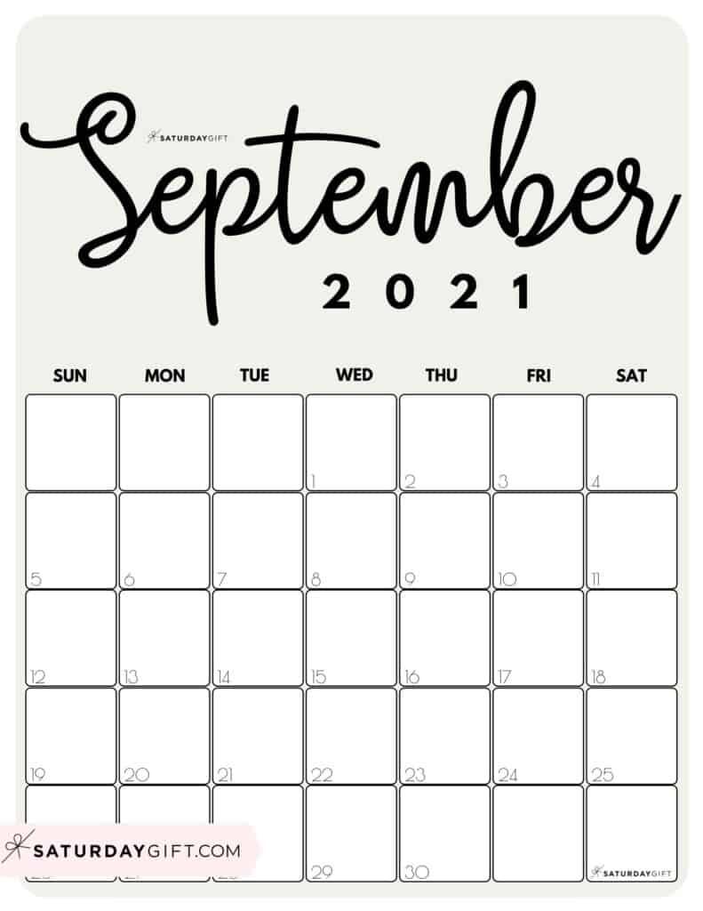 Elegant Beige Printable September 2021 Calendar by Month Vertical Sunday-start by SaturdayGift