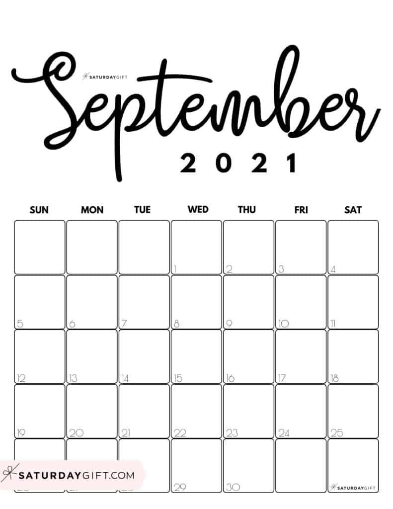Black & White Printable September 2021 Calendar by Month Vertical Sunday-start by SaturdayGift