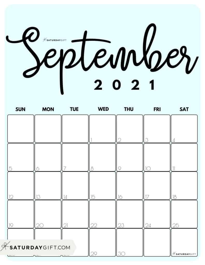 Light Blue Printable September 2021 Calendar by Month Vertical Sunday-start by SaturdayGift