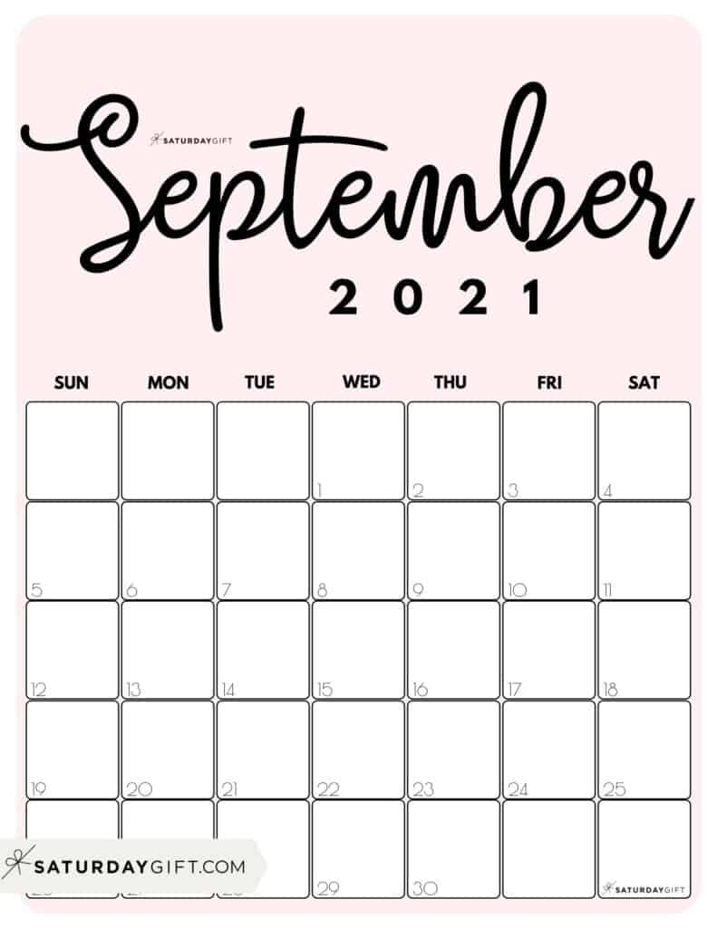 Cute Pink Printable September 2021 Calendar by Month Vertical Sunday-start by SaturdayGift