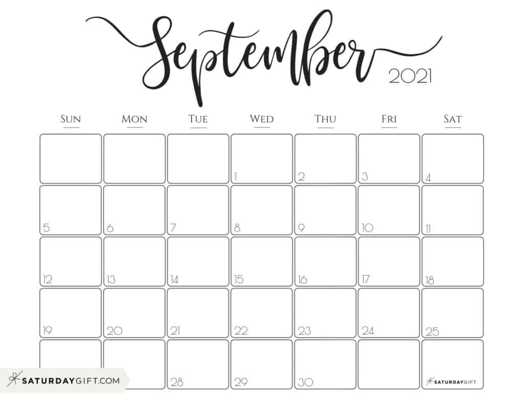 Elegant September 2021 calendar Free Printable Horizontal Sunday-Start