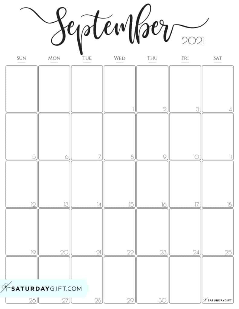 Elegant September 2021 calendar Free Printable Vertical Sunday-Start