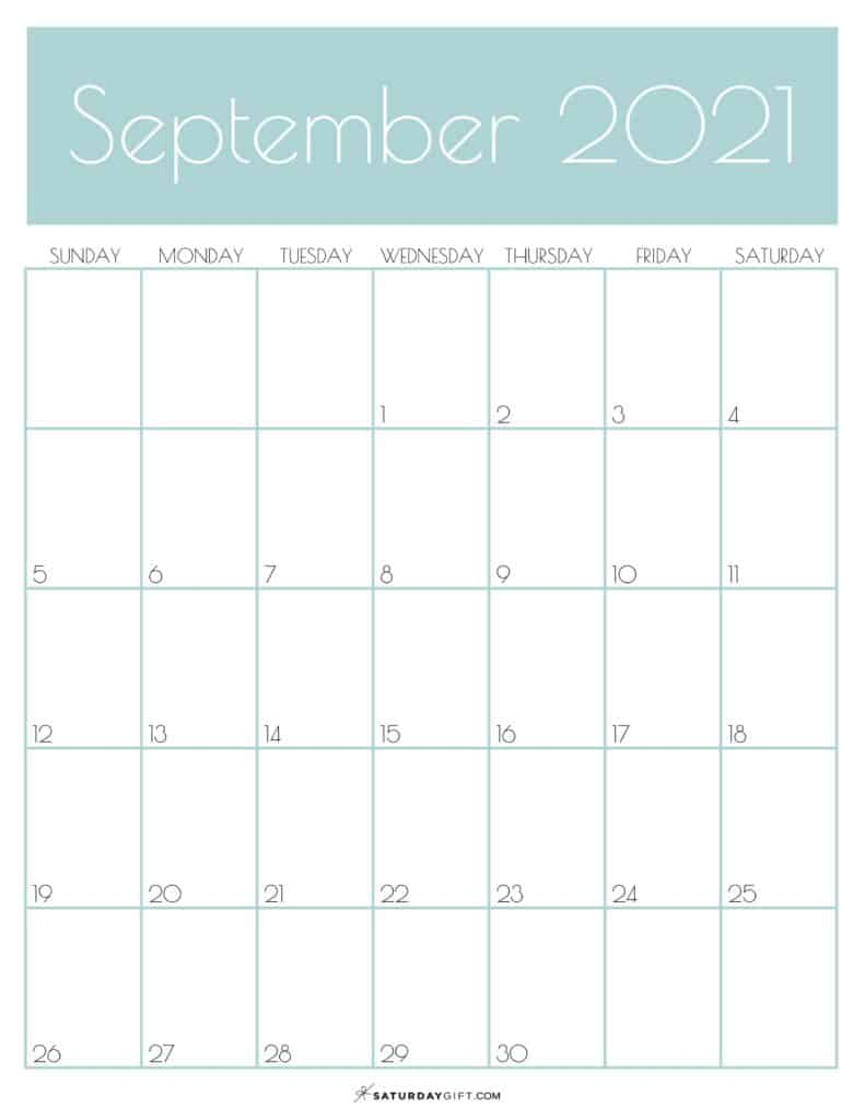 Green Monthly Goals September 2021 Calendar Vertical Sunday-start | SaturdayGift